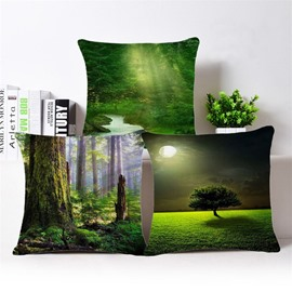 Fresh Green Beautiful Scenery Print Square Throw Pillowcase