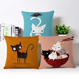 Lovely Cat/Kittens Design PP Cotton Square Throw Pillowcase
