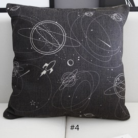 Interstellar Spacecrafts and Sky Galaxy Prints Linen Throw Pillowcases