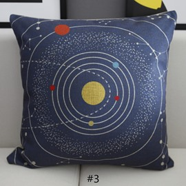Solar System and Space Galaxy Pattern Throw Pillowcases