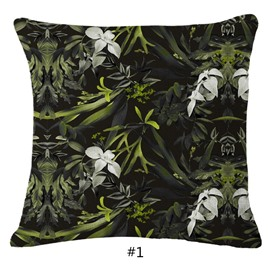 Hand-Painted White Flowers and Tropical Plants Foliage Design Linen Throw Pillowcases
