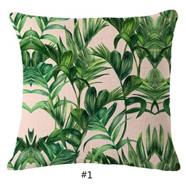 Hand-Painted Tropical Leaves Foliage Design Beige Linen Throw Pillowcases