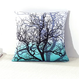 Tree Branches Cluster Printed Green Decorative Square Polyester Throw Pillowcases