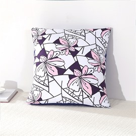 Pink Flowers Creative Design Decorative Square Polyester Throw Pillowcases