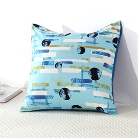 Galaxy and Flowing Lines Lake Blue Printed Decorative Square Polyester Throw Pillowcases