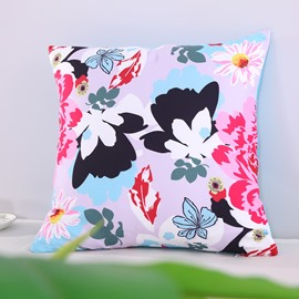 Black White Butterflies and Pink Peony Pattern Decorative Square Polyester Throw Pillowcases