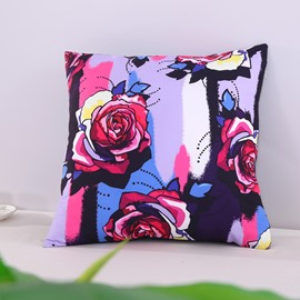 Multi-Color Roses Pattern Decorative Square Polyester Throw Pillowcases