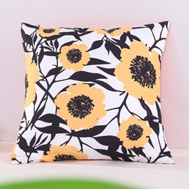 Blooming Sunflowers Pattern Decorative Square Polyester Throw Pillowcases
