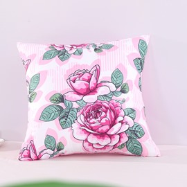 Sweet Pink Peony with Green Leaves Decorative Square Polyester Throw Pillowcases
