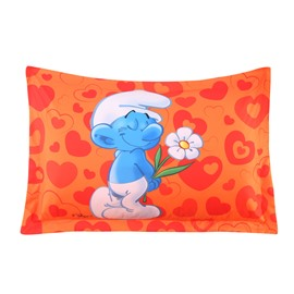 Shy Smurf with Flower Waiting True Love Printed One Piece Bed Pillowcase