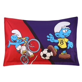 Soccer Smurf and Cyclist Smurf One Piece Bed Pillowcase