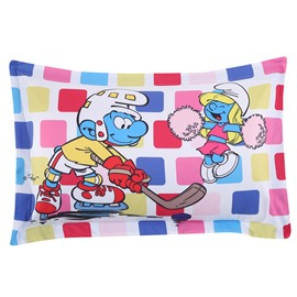 Hockey Smurf and Cheering Smurfette One Piece Bed Pillowcase