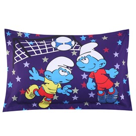 Soccer Smurfs Follow Sports Spirit One Piece Bed Pillowcase