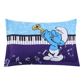 Harmony Smurfs Play the Music Printed One Piece Bed Pillowcase