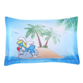 Smurf and Smurfette Resting on a Island One Piece Bed Pillowcase