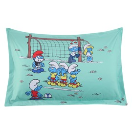 The Smurf Soccer Competition One Piece Light Green Bed Pillowcase