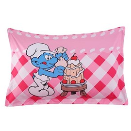 A Smurf Eating Birthday Cake Printed One Piece Bed Pillowcase