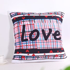 Thickly Dotted Plaid and Love Letters Decorative Square Polyester Throw Pillowcases