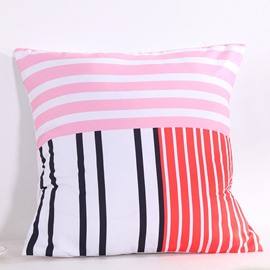 Colorful Stripes Pattern Decorative Square Polyester Throw Pillowcases
