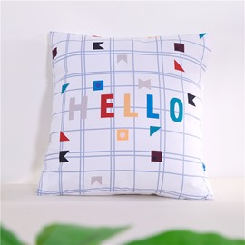 White Geometric Plaid and Hello Letters Pattern Decorative Square Polyester Throw Pillowcases