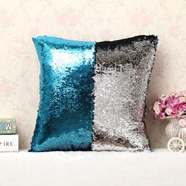 Lake Blue and Sliver Color Changing Reversible Sequins 2-Piece Mermaid Pillowcases