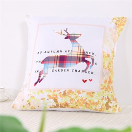 Deer Shape Plaids Combination Design Square Polyester One Piece Throw Pillowcase