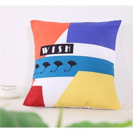 Color Blocks and Ginkgo Leaves Decorative Square Polyester One Piece Throw Pillowcase