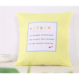 Autumn Letters Yellow Decorative Square One Piece Throw Pillowcase