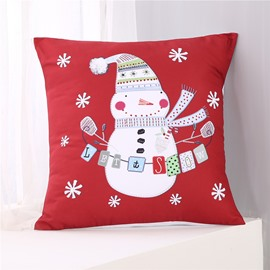 Cartoon Snowman and Snowflake Pattern Red Polyester One Piece Throw Pillowcase
