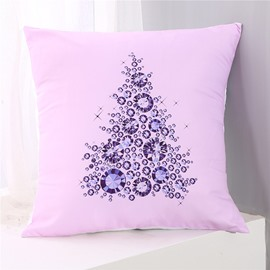 Crystal Tree Pattern Pink Polyester One Piece Throw Pillowcase
