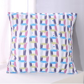 Blue Purple and Pink Stripes Pattern Decorative Square Polyester Throw Pillowcases