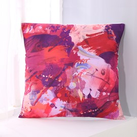 Abstract Scrawl Red and Purple Pattern Decorative Square Polyester Throw Pillowcases