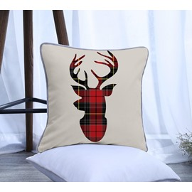 Red and Black Grid Elk Pattern Polyester One Piece Decorative Square Throw Pillowcase
