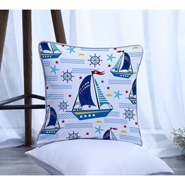 Boat Pattern Polyester One Piece Decorative Square Throw Pillowcase