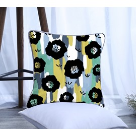 Painting Flowers with Yellow and Blue Stripes Pattern Polyester One Piece Decorative Square Throw Pillowcase