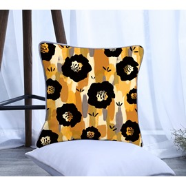 Painting Black Flowers with Yellow Stripes Pattern Polyester One Piece Decorative Square Throw Pillowcase