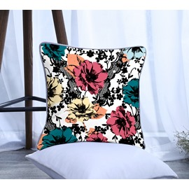 Green and Pink Painting Flowers Pattern Polyester One Piece Decorative Square Throw Pillowcase