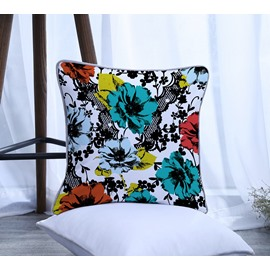 Abstract Painting Flowers Pattern Polyester One Piece Decorative Square Throw Pillowcase