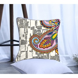 Paisley Design with Black Stripes Pattern Polyester One Piece Decorative Square Throw Pillowcase