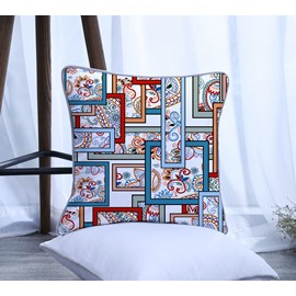 Cubes Paisley Design Pattern Polyester One Piece Decorative Square Throw Pillowcase