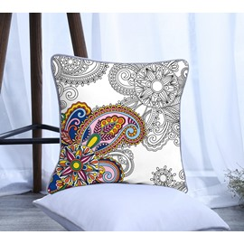 Painting Paisley Design Pattern Polyester One Piece Decorative Square Throw Pillowcase