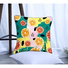 Painting Juciy Lemon Pattern Polyester One Piece Decorative Square Throw Pillowcase