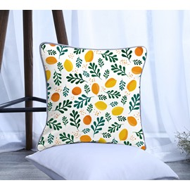 Painting Lemon with Leaves Pattern Polyester One Piece Decorative Square Throw Pillowcase
