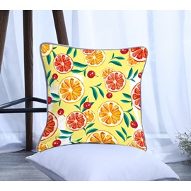 Painting Lemon and Cherry Pattern Polyester One Piece Decorative Square Throw Pillowcase