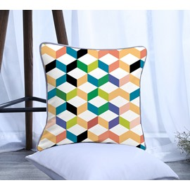 Serial Geometric Pattern Polyester One Piece Decorative Square Throw Pillowcase