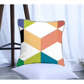 Geometrical Pattern Polyester One Piece Decorative Square Throw Pillowcase