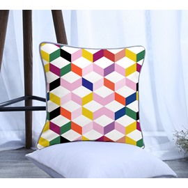 Colorful Geometrical Pattern Polyester One Piece Decorative Square Throw Pillowcase