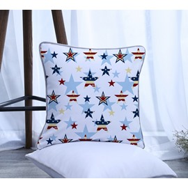 American Flag Five-pointed Star Pattern Polyester One Piece Decorative Square Throw Pillowcase