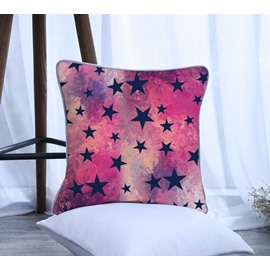 Galaxy Purple Five-pointed Star Pattern Polyester One Piece Decorative Square Throw Pillowcase