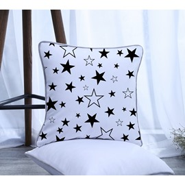 Black and White Five-pointed Star Pattern Polyester One Piece Decorative Square Throw Pillowcase